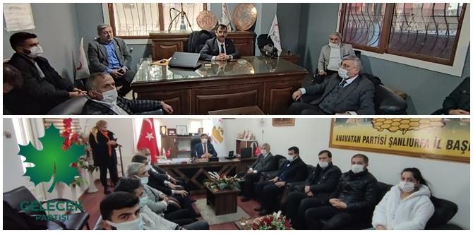 Gelecek Partisi Şanlıurfa İl Başkanlığı, Anavatan Partisi ve Genç Parti Başkanlığını ziyaret etti.