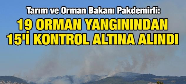 Pakdemirli: 12 ilde çıkan 19 orman yangınından 15'i kontrol altına alındı